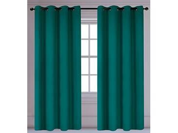 LJ Home Fashions Luxura réduisant la luminosité Interiors 2pièces isolantes à œillets/Anneaux Paire de Rideaux, 142x 241cm, Bleu Sarcelle Vert