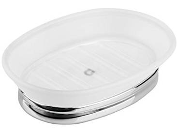 InterDesign York Tint porte-savon, élégant support à savon ovale en plastique et métal, blanc/argenté