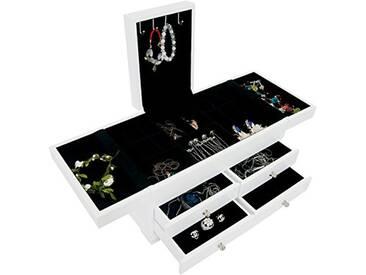Storaddict SA10048-1 Boîte à Bijoux avec Compartiments, Bois, Blanc, 35 x 20 x 18 cm
