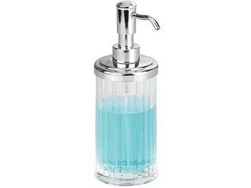 InterDesign Alston distributeur de savon, pousse-mousse rechargeable en plastique, transparent/argenté
