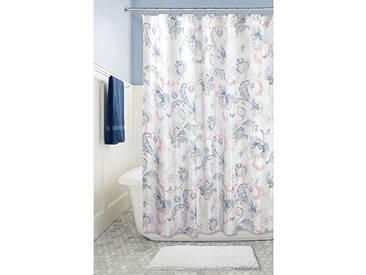 InterDesign Shelby rideau douche, rideau baignoire fleuri 183,0 cm x 183,0 cm en polyester, rideau de bain stable avec 12 œillets, marine/gris/corail
