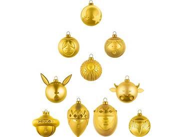 Alessi Amj13s10gd Le Palle Presepe Set de 10 Boules de Noël en Verre Soufflé, Colorées or, decorées à la Main