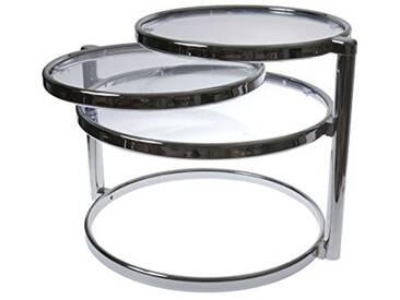 Leitmotiv Double Swivel Table Verre, Métal, Chrome, Taille L