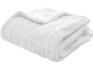 HomeMaison Plaid à Rayures, Polyester, Blanc, 160x120 cm