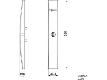 Schneider Elec pue–Mam 3811–Fermoir Plat + inserto fente 2x 4sans clé