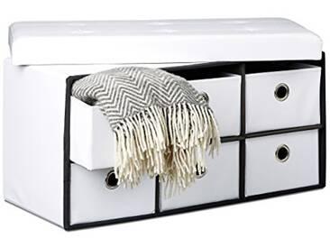 Relaxdays Banc de rangement rectangle pliant avec 6 compartiments amovibles tabouret stockage ottoman avec assise pouf simili-cuir coffre pliable38 x 76 x 38 cm, blanc