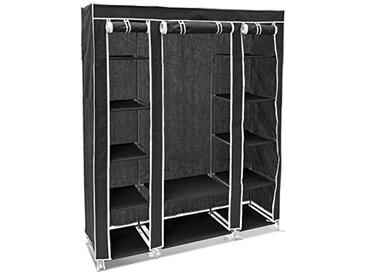 Relaxdays 10018857_46 Armoire en tissu pliante 175,5 x 148 x 43 cm penderie pliable 12 étagères avec tringle à vêtements 12 niveaux compartiments noir