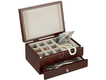 Relaxdays Boîte à Bijoux Petite en Bois avec Miroir Coffre Bague Boucle d'Oreilles HxlxP: 10 x 18,5 x 13 cm, Marron