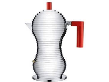 Alessi Mdl02/3rfm Pulcina Cafetière Espresso en Fonte Daluminium, Poignée et Pommeau en Pa, Rouge, Fond en Acier Magnétique Compatible avec la Cuisson Par Induction, 3 Tasses,
