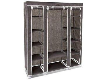 Relaxdays 10018857_139 Armoire en tissu pliante 175,5 x 148 x 43 cm penderie pliable 12 étagères avec tringle à vêtements 12 niveaux compartiments anthracite