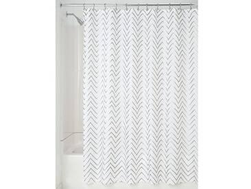 InterDesign Sketched Chevron rideau douche, rideau baignoire design 183,0 cm x 183,0 cm en polyester, rideau de bain avec motif en zig-zig, argenté