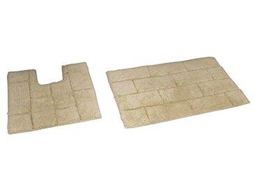 Rapport pour carrelage de Bain et Tapis WC, Coton, Naturel, 80x 50x 2cm