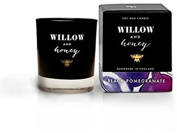 Willow and Honey Panier en Osier et Miel Grenade Mèche en Bois Bougie au soja, Verre/Cire, Blanc, 8x 8x 9.4cm