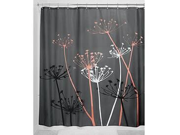 InterDesign Thistle rideau douche, grand rideau baignoire 183,0 cm x 183,0 cm en polyester, rideau de bain lavable fleuri en tissu doux, gris/corail