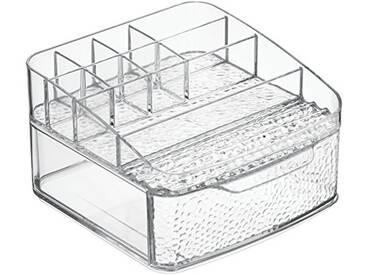 InterDesign Rain rangement maquillage, coffret maquillage en plastique avec divers compartiments et 1 tiroir, box cosmétiques pour évier & coiffeuse, transparent
