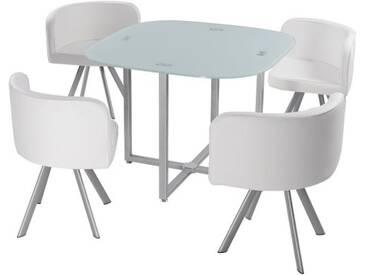Menzzo P803 Contemporain Mosaic 90 Table et Chaises Métal/Verre Blanc 90 x 90 x 75 cm