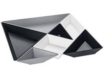 koziol 3480472Tangram prêt à servir Ensemble de bols, thermoplastique, gris froid/Cosmos Noir/coton Blanc