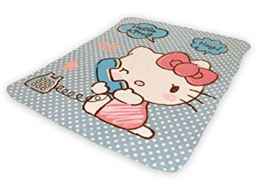 So Mobilia Plaid Hello Kitty Fibres Synthétiques, Rose/Bleu, 120x140x1 cm