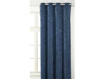 Linder 0531/45/375FR Rideau Aspect Velours Velouret Bleu Pétrole Oeillets 145 x 260 cm