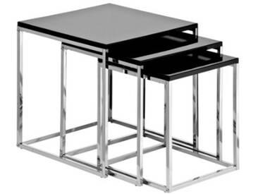 Premier Housewares Tables gigognes Structure chromée Noir brillant Lot de 3 42 x 40 x 40 cm