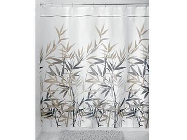 InterDesign Anzu rideau douche, rideau baignoire lavable de 180,0 cm x 200,0 cm, rideau salle de bain à motif florale, en polyester, noir / brun clair