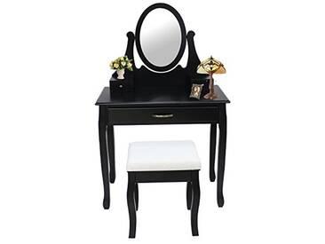 Storaddict Table de Maquillage Coiffeuse 3 tiroirs Miroir Ovale, Bois, Noir, 91 x 51 x 39 cm