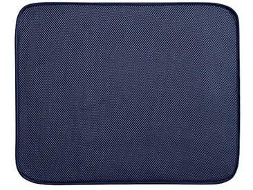 InterDesign iDry tapis de sechage, grand tapis égouttoir vaisselle en polyester, tapis évier fin pour un séchage rapide, bleu marine/blanc