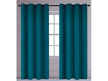 LJ Home Fashions Luxura réduisant la luminosité Interiors 2pièces isolantes à œillets/Anneaux Paire de Rideaux, 142x 241cm, Bleu