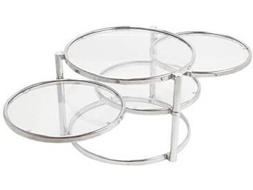 Leitmotiv Tripple Swivel Table Verre, Acier, Chrome, Taille L