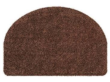 andiamo Fußmatte halbrund waschbar Samson Uni rutschhemmender Rücken Fußabtreter Türmatte, Coton, Marron, 50x75 cm