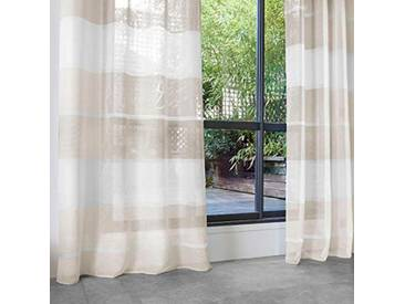 HomeMaison Voilage avec Larges Rayures Horizontales, Polyester, Lin, 240x140 cm