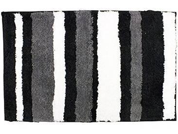 InterDesign 18982EU Stripz Tapis Microfibre Polyester Noir/Gris 60 x 90 cm