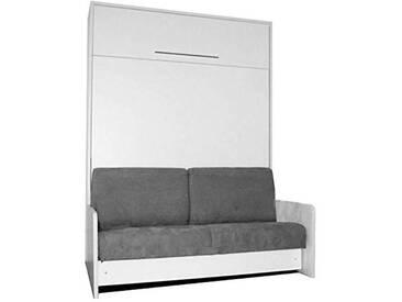 LEADER BED Space Sofa Fast Armoire lit escamotable 140cm Blanche avec canapé Microfibre Grise