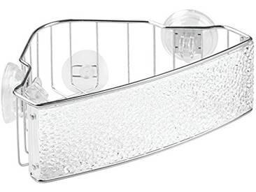 InterDesign Rain Power Lock, Compartiment de douche à ventouse pour le shampooing, revitalisant, savon - En angle, Transparent