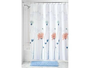 InterDesign Floral Meadow rideau de douche, rideau baignoire en polyester avec suspension stable, rideau salle de bain à motif floral, bleu/corail