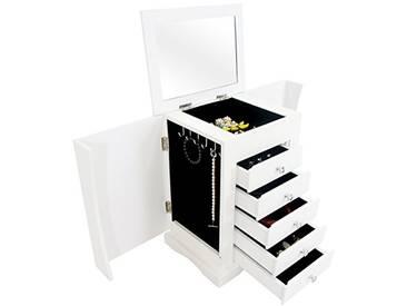 Storaddict SA10048-2 Boîte à Bijoux avec Compartiments, Bois, Blanc, 36 x 28 x 23 cm