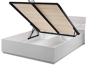 EURO SMART FURNITURE AB-13 lit-coffre MDF (Panneau de Fibres de Bois à densité Moyenne), recouverts dun Papier décor imprégné de résine mélamine, Finition Blanc Mat, Taille unique