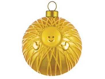 Alessi Amj13 1 Gd Gesù Bambino Boule de Noël en Verre Soufflé, Colorée or, decorée à la Main, Set de 4 Pièces