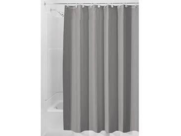 InterDesign Rideau de Douche Tissu imperméable, 180,0 cm x 200,0 cm Rideau Douche en Polyester, Rideau Textile Lavable Ourlet renforcé, Gris
