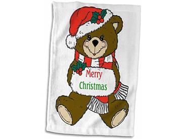 3dRose Image dours en Peluche Dicton Merry Christmas Serviette, Blanc, 15x 55,9cm