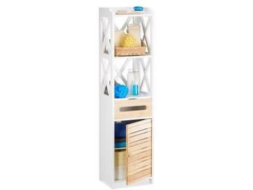 Relaxdays Armoire colonne de salle de bain ou cuisine 6 niveaux porte armoire étroite tiroir, blanc