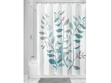 InterDesign Botanical Poly rideau de douche pratique de salle de bain, rideau de baignoire en polyester, rideau de bain avec motif floral, gris/bleu