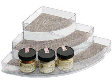 InterDesign Twillo rangement épices d'angle avec 3 compartiments pour le plan de travail, porte-épices en plastique pour aromates, etc., argenté