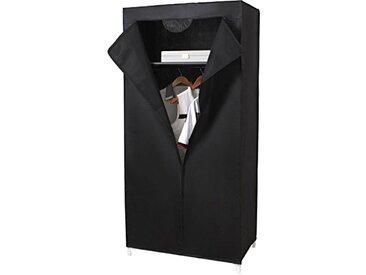 Helloshop26 Armoires Penderie Tissu Meuble de Rangement Plastique, Noir, 75 x 45 x 160 cm
