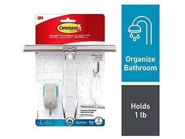 Command BATH32-SS-ES Raclette de douche avec bandes adhésives résistantes à l'eau, Nickel satiné/transparent