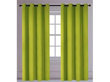 LJ Home Fashions Luxura réduisant la luminosité Interiors 2pièces isolantes à œillets/Anneaux Paire de Rideaux, 142x 241cm, Vert Citron