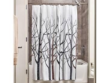 InterDesign Forest rideau douche, rideau baignoire design 183,0 cm x 183,0 cm en polyester, rideau de bain avec motif d'arbres, gris/noir