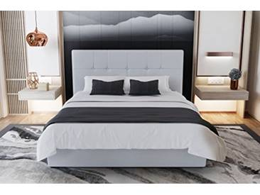 Beds&Sofa Mahe Lit Coffre Couchage Blanc 199 x 145 x 110 cm