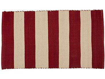Jute & Co. Tapis Line Moquette, Dim. 60x 110cm, 100% Coton, Gris Clair et Rouge foncé, Taille Unique