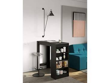 Temahome Aravis Table Bar Panneaux de Particules mélaminés, Noir et béton, 115 x 50 x 102,7 cm (L-P-A)